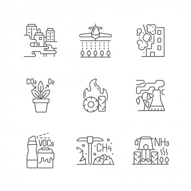 Air pollution linear icons set. People damaging planet environment and atmosphere. Rubish increasing. Customizable thin line contour symbols. Isolated vector outline illustrations. Editable stroke icon