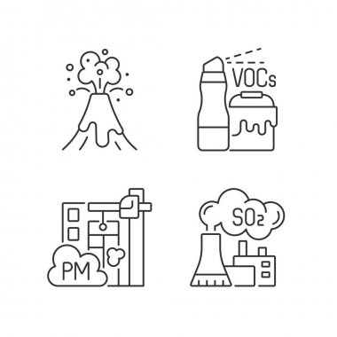 Air pollution linear icons set. Household product with dangerous components inside. Volcanic eruption. Customizable thin line contour symbols. Isolated vector outline illustrations. Editable stroke icon