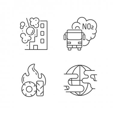 Air pollution linear icons set. Construction sites are polluting air wirh dust and other toxic materials. Customizable thin line contour symbols. Isolated vector outline illustrations. Editable stroke icon