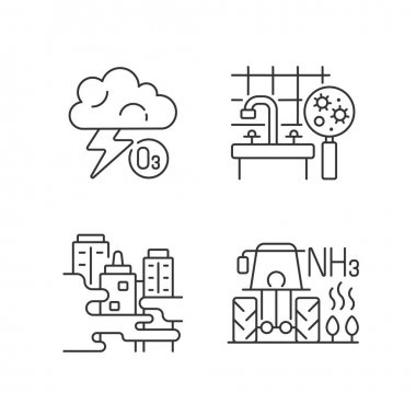 Air pollution linear icons set. Farming equipment and materials are polluting planet environment. Customizable thin line contour symbols. Isolated vector outline illustrations. Editable stroke icon