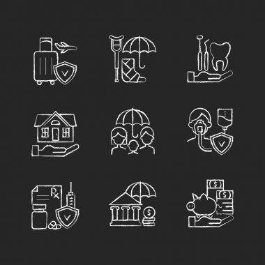 Insurance and protection chalk white icons set on black background. Covering traveling costs. Disability. Dentist visit. Life policies. Home insurance. Isolated vector chalkboard illustrations icon