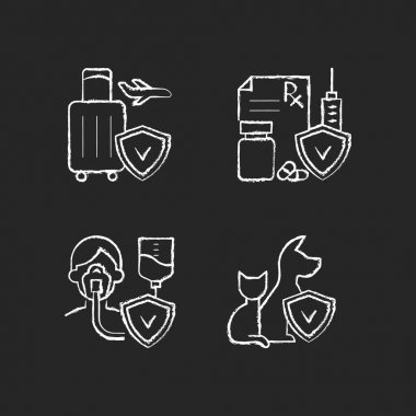 Insurance and protection chalk white icons set on black background. Reimbursement for traveling expenses. High medicative costs. Critical illness payout. Isolated vector chalkboard illustrations icon