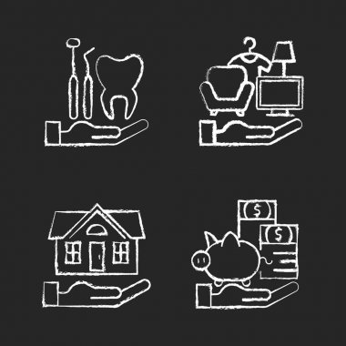 Insurance and protection chalk white icons set on black background. Dental care. Property coverage. Payment protection. Repairing and rebuilding house. Isolated vector chalkboard illustrations icon