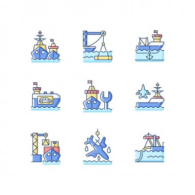 Shipping industry RGB color icons set. Naval fleet. Underwater construction. Anchorage. Vehicle carrier ship. Repairing vessel. Aircraft carrier. Buried infrastructure. Isolated vector illustrations icon