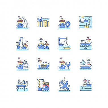 Marine industry RGB color icons set. Arctic exploration. Underwater pipeline repair. Maritime security. Offshore oil drilling. Industrial fishing. Naval fleet. Isolated vector illustrations icon