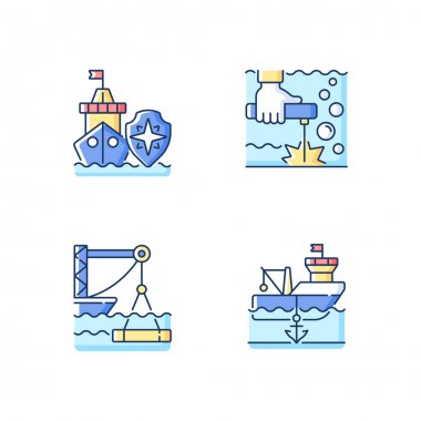 Maritime industry RGB color icons set. Search and rescue provision. Underwater welding. Marine construction. Anchored ship. National security. Offshore oil drilling. Isolated vector illustrations icon