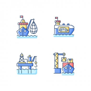 Marine industry sector RGB color icons set. Industrial fishing. Vehicle carrier ship. Offshore oil platform. Cargo load. Selling fish and fish products. Container ship. Isolated vector illustrations icon