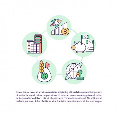 Types of stocks concept line icons with text. PPT page vector template with copy space. Brochure, magazine, newsletter design element. Starting guide to stock trading linear illustrations on white