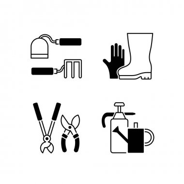 Gardening supplies black linear icons set. Hoe and fork hoes. Gloves and boots. Clippers, secateurs. Watering can. Cultivating, weeding. Glyph contour symbols. Vector isolated outline illustrations icon