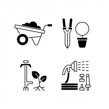 Garden accessories black linear icons set. Wheelbarrow. Pruning shears. Weed puller. Hosepipe with sprayer nozzle. Hand-propelled vehicle. Glyph contour symbols. Vector isolated outline illustrations icon