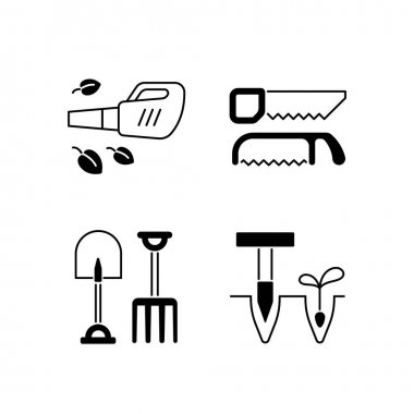 Garden instruments black linear icons set. Leaf blower. Saws. Fork and spade. Pointed wooden stick. Cleaning up leaves. Loosening soil. Glyph contour symbols. Vector isolated outline illustrations icon