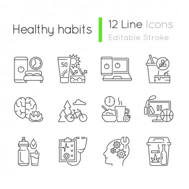 Healthy activity linear icons set. Quit bad habit. Learn new skill. Regular health checkup. Drink water. Customizable thin line contour symbols. Isolated vector outline illustrations. Editable stroke icon