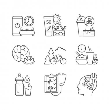 Healthy habits development linear icons set. Sleep hygiene. Skin protection. Practice mindfulness. Customizable thin line contour symbols. Isolated vector outline illustrations. Editable stroke icon