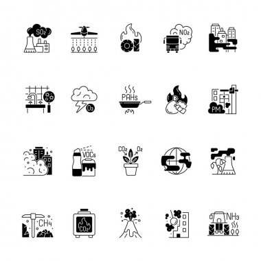 Air pollution black linear icons set. Fighting pollution disaster problems. People damaging own home. Humanity problem. Glyph contour symbols. Vector isolated outline illustrations icon