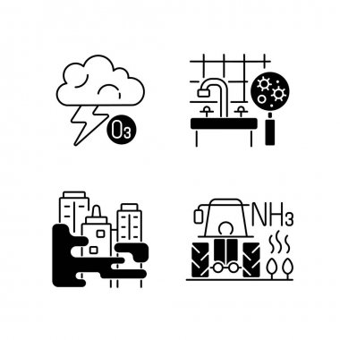 Air pollution black linear icons set. Farming equipment and materials are polluting planet environment. Glyph contour symbols. Vector isolated outline illustrations icon