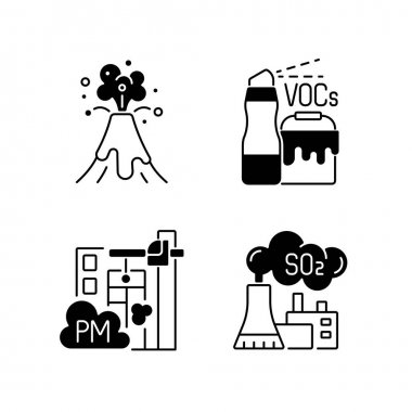 Air pollution black linear icons set. Household product with dangerous components inside. Volcanic eruption disaster. Glyph contour symbols. Vector isolated outline illustrations icon