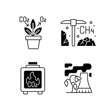 Air pollution black linear icons set. Air purifying plants at home. Residential wood burning damaging atmosphere. Glyph contour symbols. Vector isolated outline illustrations icon