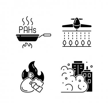 Air pollution black linear icons set. Burning garbage produces dangerous and toxic smoke. Harmful pesticides. Glyph contour symbols. Vector isolated outline illustrations icon