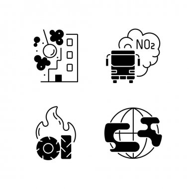 Air pollution black linear icons set. Construction sites are polluting air wirh dust and other toxic materials. Glyph contour symbols. Vector isolated outline illustrations icon