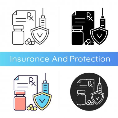 Medical insurance icon. Payment for surgical procedures and prescription drug. Covering expenses for health conditions. Linear black and RGB color styles. Isolated vector illustrations icon