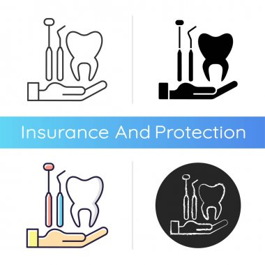 Dental insurance icon. Dental care. Healthy teeth achieving. Checkups for dental disorder prevention. Covering dentist visit. Linear black and RGB color styles. Isolated vector illustrations icon