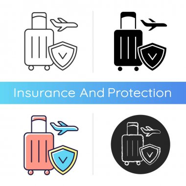 Travel insurance icon. Covering traveling costs and losses. Reimbursement for last-minute flight delay and cancellation. Linear black and RGB color styles. Isolated vector illustrations icon