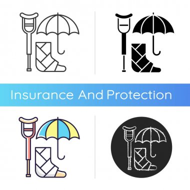 Disability insurance icon. Wage replacement for disabled employee. Adequate health coverage. Covering expenses for illness. Linear black and RGB color styles. Isolated vector illustrations icon