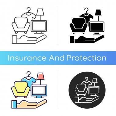 Possessions insurance icon. Contents insurance policy. Valuable personal belonging protection. Personal property replacement. Linear black and RGB color styles. Isolated vector illustrations icon