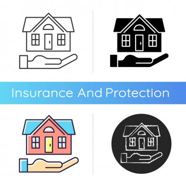 Home insurance icon. Insured event. Covering accident expenses for repairing, rebuilding house. Homeowners insurance policy. Linear black and RGB color styles. Isolated vector illustrations icon