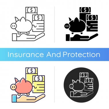 Payment protection insurance icon. Loan repayment insurance. Covering debt repayments. Unemployment, disability coverage. Linear black and RGB color styles. Isolated vector illustrations icon