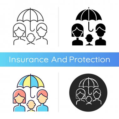 Life insurance icon. Life policy. Payment after death from disease, accident, natural causes. Financially family protection. Linear black and RGB color styles. Isolated vector illustrations icon