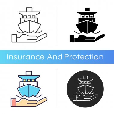 Marine insurance icon. Transport damages and losses coverage. Ships, vessels, cargo. Protection from marine navigation risks. Linear black and RGB color styles. Isolated vector illustrations icon