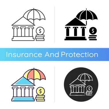 Social insurance icon. Public insurance program. Protection against economic risks. Payment for pensioners and low-income. Linear black and RGB color styles. Isolated vector illustrations icon