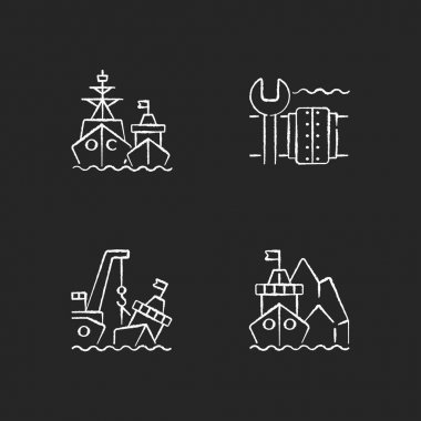 Maritime structures and regulation chalk white icons set on black background. Military force unit. Underwater pipeline repair. Towing, re-floating. Isolated vector chalkboard illustrations icon