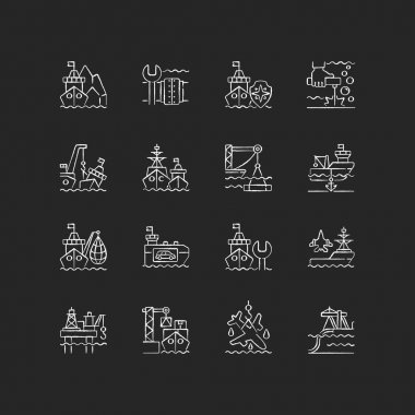 Marine industry chalk white icons set on black background. Arctic exploration. Underwater pipeline repair. Maritime security. Maintenance. Naval fleet. Isolated vector chalkboard illustrations icon