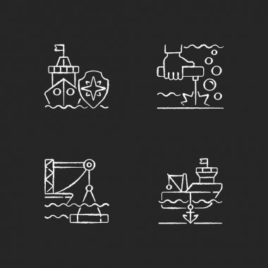 Maritime industry chalk white icons set on black background. Search and rescue provision. Underwater welding. Marine construction industry. Anchored ship. Isolated vector chalkboard illustrations icon
