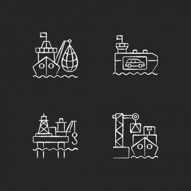 Marine industry sector chalk white icons set on black background. Industrial fishing. Vehicle carrier ship. Offshore oil platform. Cargo loading. Isolated vector chalkboard illustrations icon