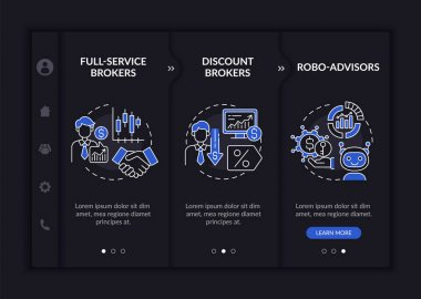 Licensed broker kinds onboarding vector template. Responsive mobile website with icons. Web page walkthrough 3 step screens. Full-service, discount types night mode concept with linear illustrations