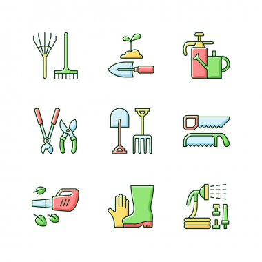 Gardening equipment RGB color icons set. Rake. Hand trowel. Watering can and sprayer. Hedge trimmers, secateurs. Garden fork, spade. Handsaw. Leaf blower. Gloves, boots. Isolated vector illustrations icon