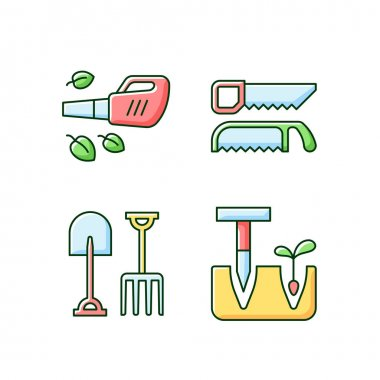 Garden instruments RGB color icons set. Leaf blower. Saws. Fork and spade. Pointed wooden stick. Cleaning up leaves. Loosening, blending soil. Cutting fresh and dry wood. Isolated vector illustrations icon