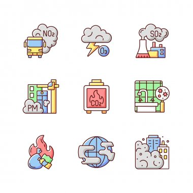 Air pollution RGB color icons set. Dangerous and toxic dust parts in air. Health problems because of environment pollution disaster. Isolated vector illustrations icon