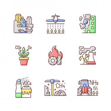 Air pollution RGB color icons set. People damaging planet environment and atmosphere. Rubish after people increasing process in nature. Isolated vector illustrations icon