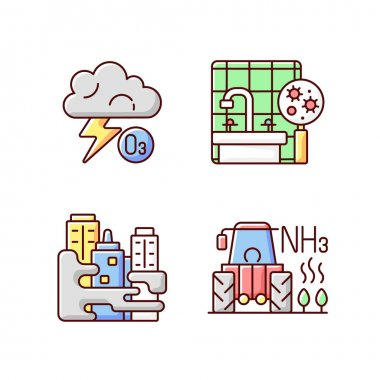 Air pollution RGB color icons set. Farming equipment and materials are polluting planet environment. Reducing argicultural leftovers. Isolated vector illustrations icon