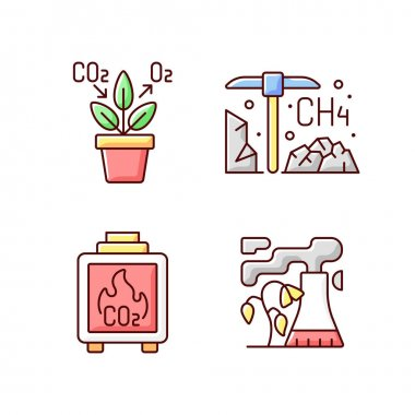 Air pollution RGB color icons set. Air purifying plants at home in pots. Residential wood burning damaging atmosphere and air quality. Isolated vector illustrations icon