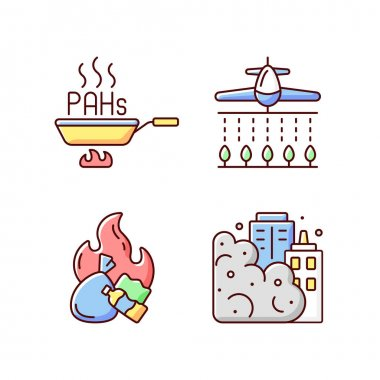 Air pollution RGB color icons set. Burning garbage produces dangerous and toxic smoke. Harmful pesticides increasing in atmosphere. Isolated vector illustrations icon