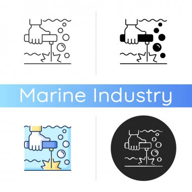 Underwater welding icon. Offshore oil drilling. Oil rigs and ships maintenance. Welder-diver. Decompression sickness. Linear black and RGB color styles. Isolated vector illustrations icon