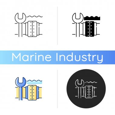Underwater pipeline repair icon. Subsea pipeline integrity repairing and reinforcing. Offshore and subsea environments. Linear black and RGB color styles. Isolated vector illustrations icon