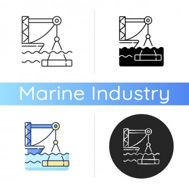 Underwater construction icon. Marine construction industry. Placing concrete under water. Installing watertight floor, walls. Linear black and RGB color styles. Isolated vector illustrations icon