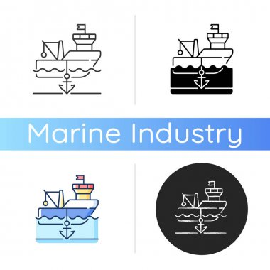 Anchored ship icon. Anchorage. Anchoring operation. Holding vessel in same place. Protecting ship during weather conditions. Linear black and RGB color styles. Isolated vector illustrations icon