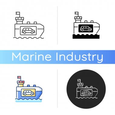 Vehicle carrier ship icon. Car shipping service. Wheeled cargo transportation. Ro-ro ships. Carrying cars and trucks. Linear black and RGB color styles. Isolated vector illustrations icon
